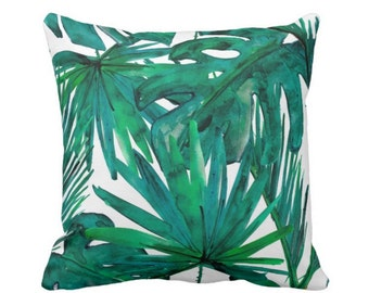 """READY 2 SHIP Palm Leaves Throw Pillow or Cover, Jewel Tone Green & Blue Print 16, 18, 20 or 26"""" Square Pillows or Covers, Bright/Colorful"""