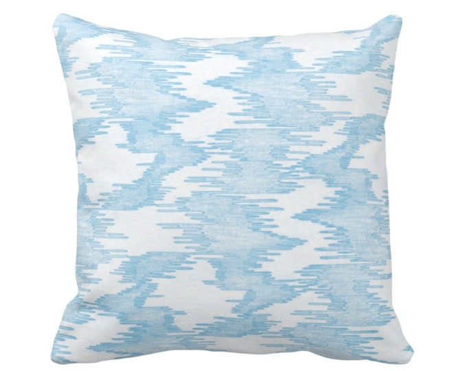 "OUTDOOR Ikat Print Throw Pillow or Cover, Blue/White 14, 16, 18, 20"" Sq Pillows Covers Light Abstract Painted Modern/Lines/Geometric Print"
