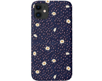 Dots & Daisies iPhone 12, 11, XS, XR, X, 7/8 Mini/Pro/Max/P/Plus Snap Case or Tough Protective Cover Blue/Pink Floral/Flower Pattern, Galaxy