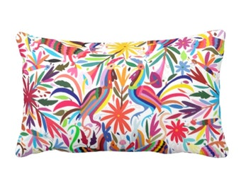 "OUTDOOR - READY 2 SHIP Colorful Otomi Throw Pillow Cover, Printed 14 x 20"" Lumbar Covers, Bright/Mexican/Boho/Bohemian/Floral/Animal Print"