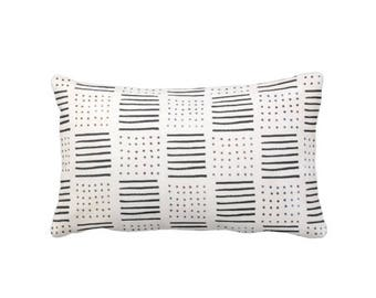"OUTDOOR Mud Cloth Printed Pillow or Cover, Off-White/Black 14 x 20"" Lumbar Throw Pillows/Covers, Mudcloth Dots/Lines Boho/Tribal Prints"