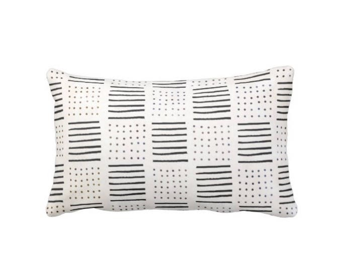 """Mud Cloth Printed Pillow or Cover, Off-White/Black 14 x 20"""" Lumbar Throw Pillows or Covers, Mudcloth Dots/Lines Boho/Tribal Prints"""