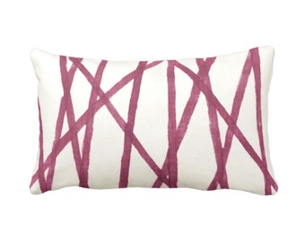 """SALE Hand-Painted Lines Throw Pillow Cover, Plum/White 14 x 20"""" Lumbar Pillow Covers, Abstract/Channels/Stripes Burgundy Print"""