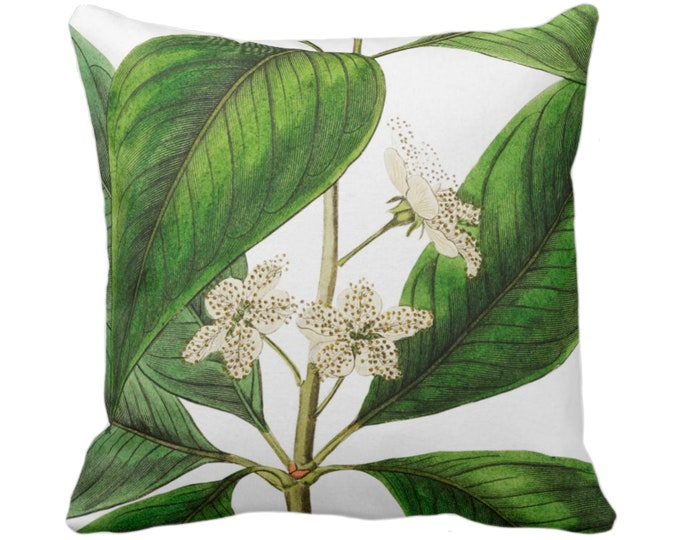 "OUTDOOR Vintage Botanical White Flowers Throw Pillow or Cover, 14, 16, 18, 20, 26"" Sq Pillows/Covers, Tropical Green Leaves/Floral Print"
