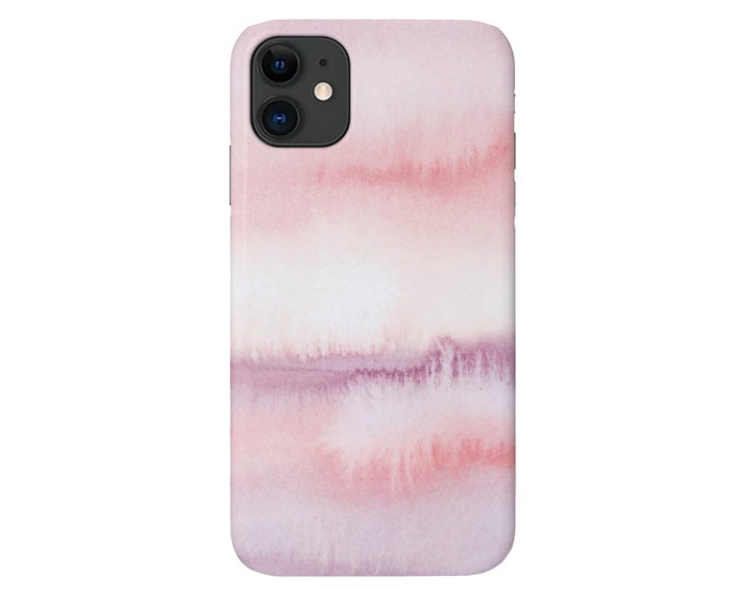 Ombre Mauve iPhone 11, XS, XR, X, 7/8, 6/6S P/Pro/Plus/Max Snap Case or TOUGH Protective Cover, Watercolor Pink Painted Abstract, Galaxy