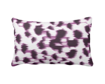 """OUTDOOR Ikat Abstract Animal Print Throw Pillow/Cover 14 x 20"""" Lumbar Pillows/Covers, Dark Purple/White Spots/Spotted/Dots/Painted Pattern"""