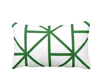 "OUTDOOR Geometric Throw Pillow or Cover, Emerald/White 14 x 20"" Lumbar Pillows or Covers, Deep Green Modern/Geo/Lines/Stripes/Lattice"