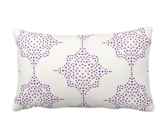 "Block Print Stars Throw Pillow or Cover, Purple & Ivory 14 x 20"" Lumbar Pillows or Covers, Wood Blockprint/Geometric/Batik/Boho/Tribal/Star"