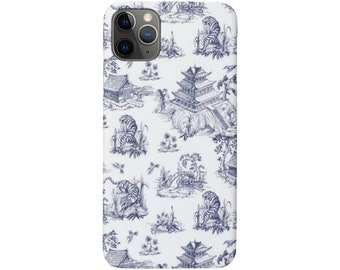 Tiger Toile iPhone 12, 11, XS, XR, X, 7/8, 6/6S, Pro/Max/P/Plus Snap Case, Tough Protective Cover, Navy Blue Pagoda/Willow Print/Pattern