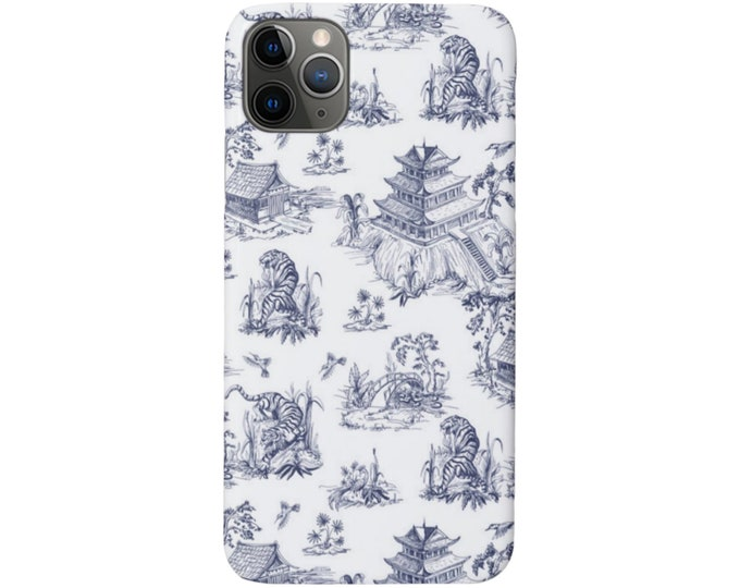 Tiger Toile iPhone 11, XS, XR, X, 7/8, 6/6S, Pro/Max/P/Plus Snap Case, Tough Protective Cover, Navy Blue Pagoda/China/Willow Print/Pattern