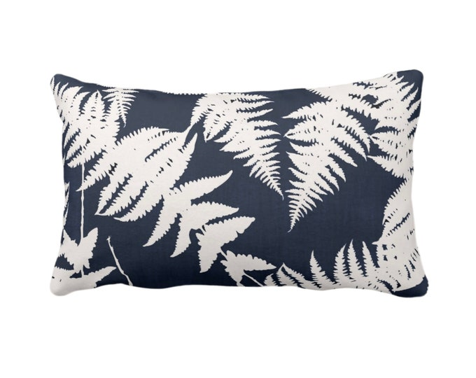 """Fern Silhouette Throw Pillow or Cover, Dark Navy/Ivory Print 14 x 20"""" Lumbar Pillows or Covers, Blue Modern Botanical Leaf/Leaves/Plants"""