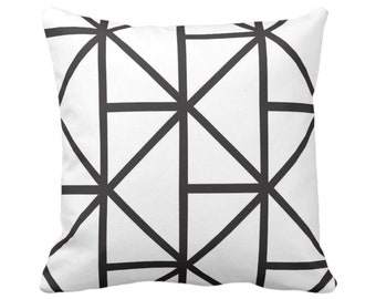 "SALE - OUTDOOR Geometric Throw Pillow Cover, Modern Black/White Print 18"" Sq Pillow Covers, Geo/Lines/Triangles/Diamonds/Abstract/Shapes"