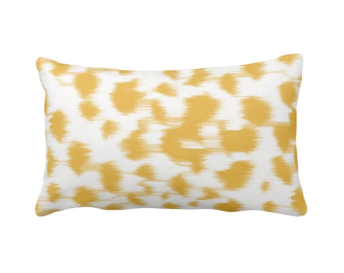 "OUTDOOR Ikat Abstract Animal Print Throw Pillow/Cover 14 x 20"" Lumbar Pillows/Covers, Citron Yellow/White Spots/Spotted/Dots/Painted Pattern"