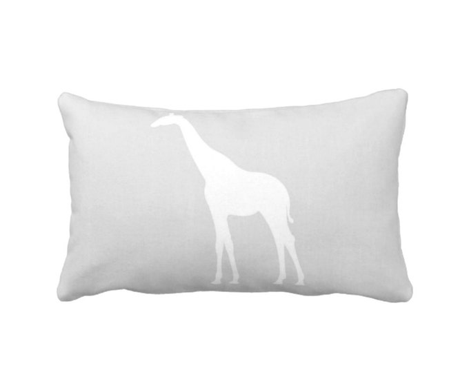 "Giraffe Silhouette Throw Pillow or Cover, Gray/White 14 x 20"" Lumbar Pillows/Covers, Gender Neutral/Modern Nursery/Safari/Animals Print"