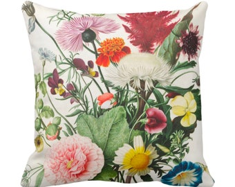 "OUTDOOR Vintage Botanical Throw Pillow/Cover, 14, 16, 18, 20, 26"" Sq Pillow/Covers Colorful Pink/Yellow/Orange/Green Flower/Floral Print"