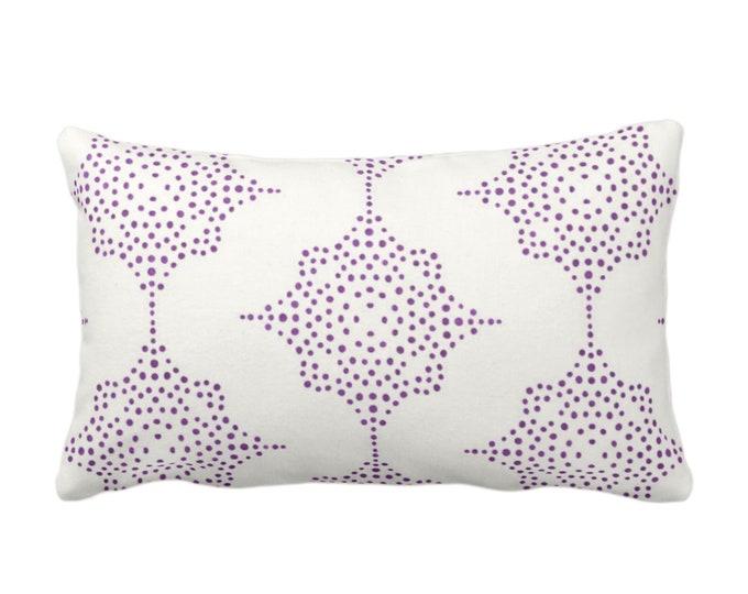 "OUTDOOR Block Print Stars Throw Pillow or Cover, Purple & Ivory 14 x 20"" Lumbar Pillows/Covers, Wood Blockprint/Batik/Geometric Pattern"