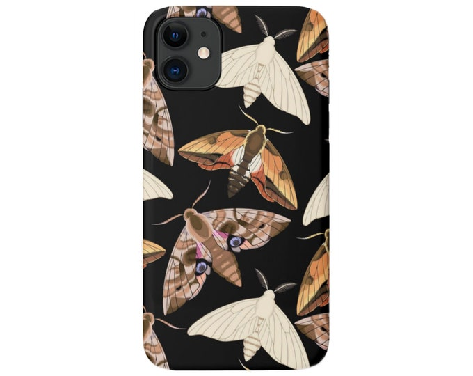 Moth Print iPhone 11, XS, XR, X, 7/8, 6/6S Pro/P/Plus/Max Snap On Case or TOUGH Protective Cover, Black/Beige Insect/Butterfly/Bugs Galaxy