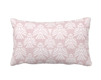 "Block Print African Mask Throw Pillow or Cover, Dusty Lilac 14 x 20"" Lumbar Pillows, Covers Light Pink/Purple Blockprint/Tribal/Boho Pattern"
