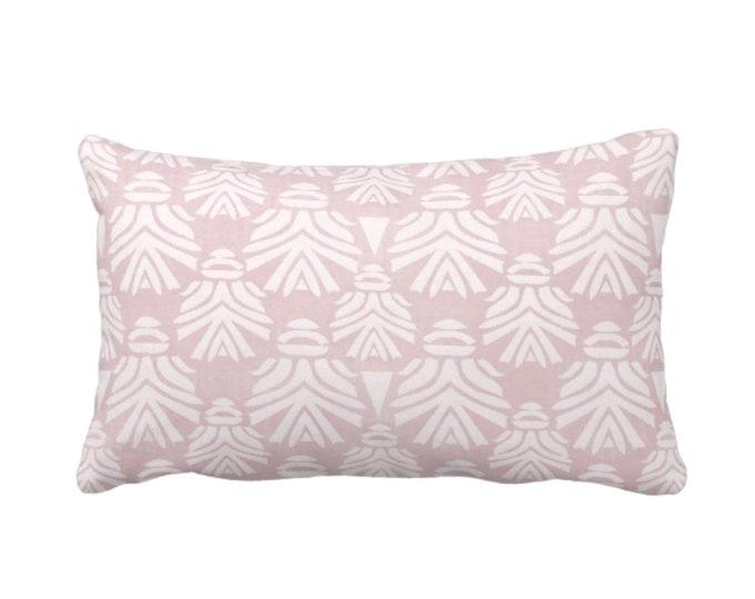 "Block Print African Mask Throw Pillow or Cover, Dusty Lilac 14 x 20"" Lumbar Pillows, Covers Light Pink/Purple Blockprint/Tribal/Boho Pattern"