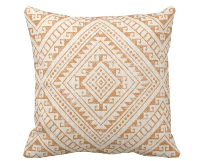 "READY 2 SHIP Diamond Geo Throw Pillow Cover, Adobe 20"" Sq Covers, Earthy Orange Geometric/Tribal/Batik/Geo/Boho, Cognac/Sand/Orange/Beige"