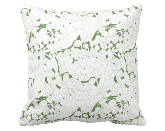 "Wildflowers Throw Pillow or Cover, Moss/White 16, 18, 20, 26"" Sq Pillows or Covers, Olive Green Floral/Retro/Modern/Vintage Print/Pattern"