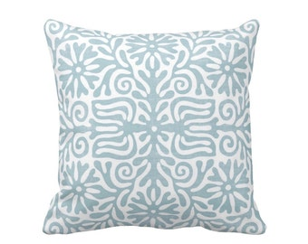 """Folk Floral Throw Pillow or Cover, Powder Blue/White 16, 18, 20 or 26"""" Sq Pillows or Covers, Light Mexican/Boho/Bohemian/Tribal"""