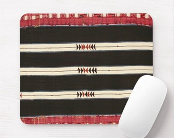 Tribal Lines Print Mouse Pad/Mousepad, Black, Red, Off-White African Rug/Carpet/Textile Print, Stripes/Arrows/Triangles/Striped