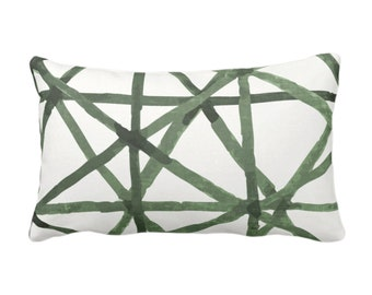"READY 2 SHIP Painted Lines Print Throw Pillow/Cover, White/Kale 14 x 20"" Lumbar Pillows/Covers, Dark Green Abstract/Geometric/Modern/Lines"