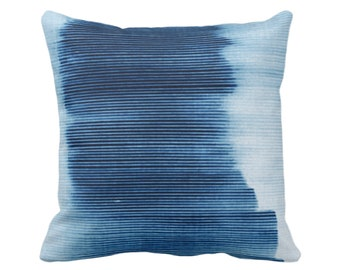 "Indigo Ombre Stripe Throw Pillow or Cover 14, 16, 18, 20, 26"" Sq Pillows/Covers, Blue Geometric/Art/Print/Design/Striped/Stripes/Geo/Lines"