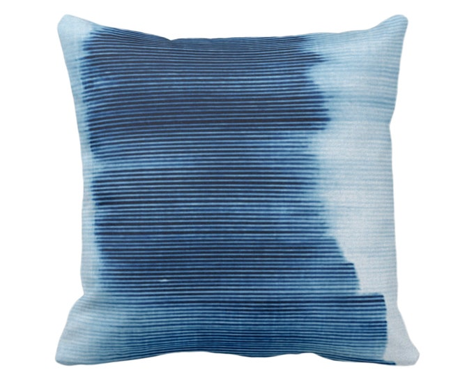 """Indigo Ombre Stripe Throw Pillow or Cover 16, 18, 20 or 26"""" Sq Pillows or Covers, Blue Geometric/Art/Print/Design/Striped/Stripes/Geo/Lines"""