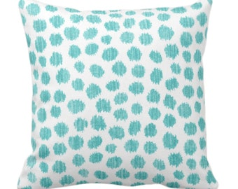 """OUTDOOR Scratchy Dots Throw Pillow or Cover Pacific/White 14, 16, 18, 20, 26"""" Sq Pillows/Covers Dark Green Scribble/Dots/Spots Print/Pattern"""