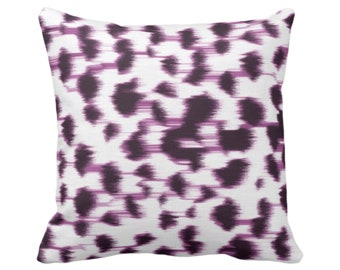 """OUTDOOR Ikat Abstract Animal Print Throw Pillow or Cover 14, 16, 18, 20, 26"""" Sq Pillows/Covers, Dark Purple/White Spotted/Dots/Spots/Geo/Dot"""