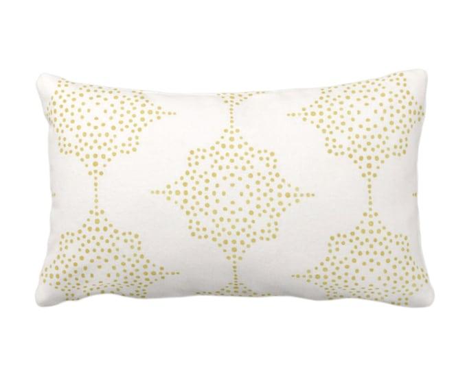 "Block Print Stars Throw Pillow or Cover, Mustard & Ivory 14 x 20"" Lumbar Pillows, Covers, Yellow Blockprint/Geometric/Batik/Boho/Tribal"