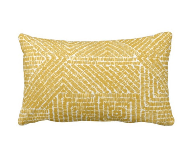 "OUTDOOR Tribal Geo Throw Pillow or Cover, Citron 14 x 20"" Lumbar Pillows/Covers, Yellow/Mustard Geometric/Batik/Geo/Diamond Pattern/Print"