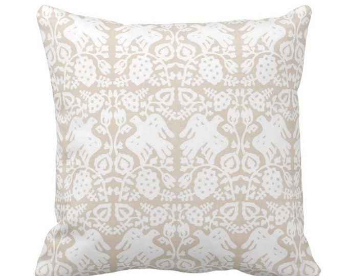 "Block Print Bird Floral Throw Pillow or Cover, Sand 16, 18, 20, 26"" Sq Pillows or Covers, Beige/White Blockprint/Boho Print"