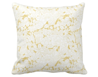 """Wildflowers Throw Pillow or Cover, Citron/White 16, 18, 20 or 26"""" Sq Pillows or Covers, Mustard/Yellow Floral/Retro/Modern Print/Pattern"""