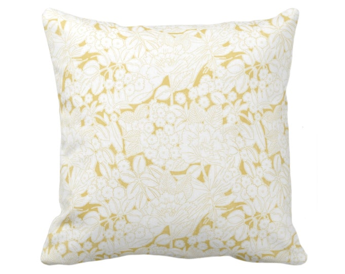 "Wildflowers Throw Pillow or Cover, Citron/White 16, 18, 20 or 26"" Sq Pillows or Covers, Mustard/Yellow Floral/Retro/Modern Print/Pattern"