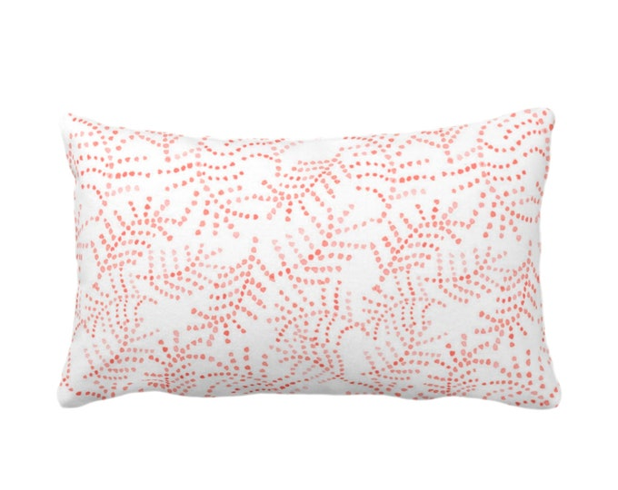 """Watercolor Flora Print Throw Pillow/Cover, Coral/White 14 x 20"""" Lumbar Pillows/Covers, Salmon/Living Floral/Botanical/Leaves/Trellis Pattern"""