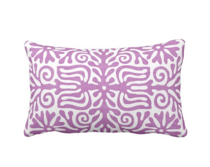 "OUTDOOR Folk Floral Throw Pillow or Cover, Purple/White 14 x 20"" Lumbar Pillows or Covers, Mexican/Boho/Bohemian/Tribal Print/Pattern"
