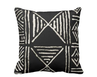 "READY TO SHIP Mud Cloth Print Throw Pillow Cover, Black & Off-White 18"" Sq Pillows Covers, Mudcloth/Boho/Geometric/African"