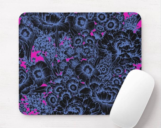 Acid Floral Mouse Pad, Black, Blue & Bright Pink Flowers/Art Print Mousepad, Retro/Vintage Pattern/Design, Flowers/Flower Wallpaper