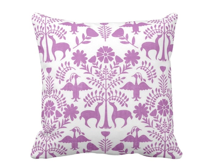 "Otomi Throw Pillow or Cover, Purple/White 16, 18, 20, 26"" Sq Pillows or Covers, Bright Mexican/Boho/Floral/Animals/Nature Print"