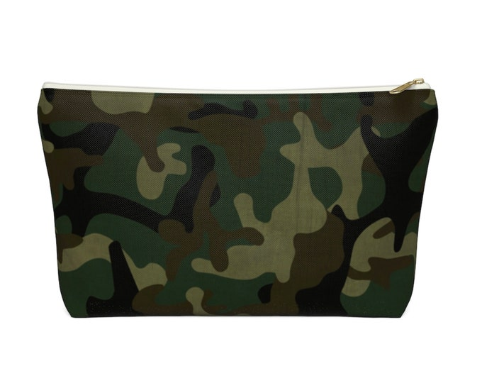 Camo Print Zippered Pouch, Green, Drab, Black Camouflage Design, Cosmetics/Pencil/Make-Up Organizer/Bag Woodland/Jungle Olive Design/Pattern