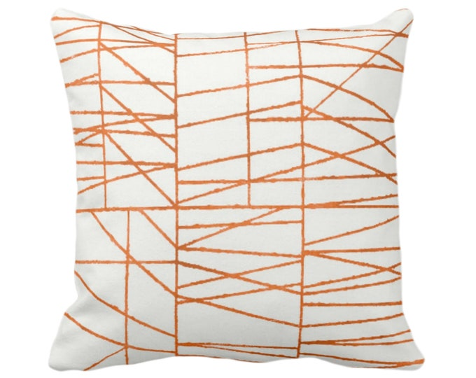 "OUTDOOR Orange Broken Geo Print Throw Pillow/Cover 14, 16, 18, 20, 26"" Sq Pillows/Covers, Burnt/Copper Modern Art/Geometric/Abstract/Lines"