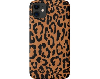 Ocelot iPhone 11, XS, XR, X, 7/8, 6/6S Pro/Max/P/Plus Snap Case or TOUGH Protective Cover, Camel/Black Animal/Spots Print/Pattern Galaxy lg