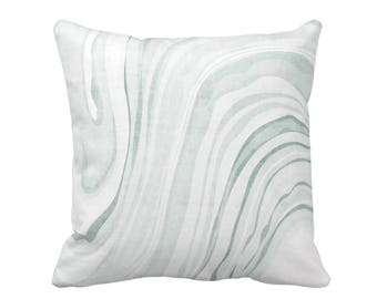"Marble Print Throw Pillow or Cover, Sage & White 16, 18, 20 or 26"" Sq Pillows or Covers, Dusty/Light Green Modern/Waves Pattern"