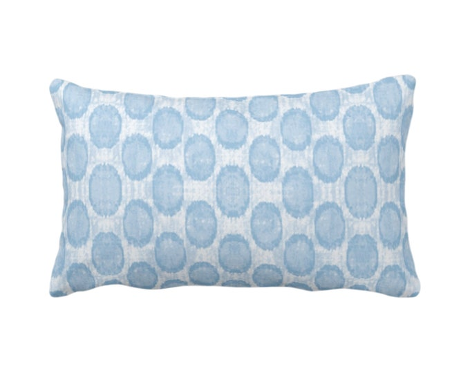 "Ikat Ovals Print Throw Pillow or Cover 14 x 20"" Lumbar/Oblong Pillows or Covers, Sky/Light Blue Geometric/Circles/Dots/Dot/Geo/Polka Pattern"