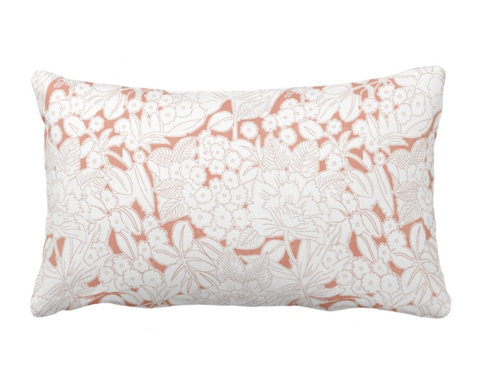 "Wildflower Throw Pillow or Cover, Terracotta/White 14 x 20"" Lumbar Pillows or Covers, Coral/Pink/Orange Floral/Retro/Modern Print/Pattern"