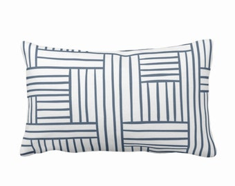 """Woven Lines Throw Pillow or Cover, White/Navy 14 x 20"""" Lumbar Pillows Covers, Dark Blue Modern/Plaid/Striped/Geometric/Geo/Abstract Print"""