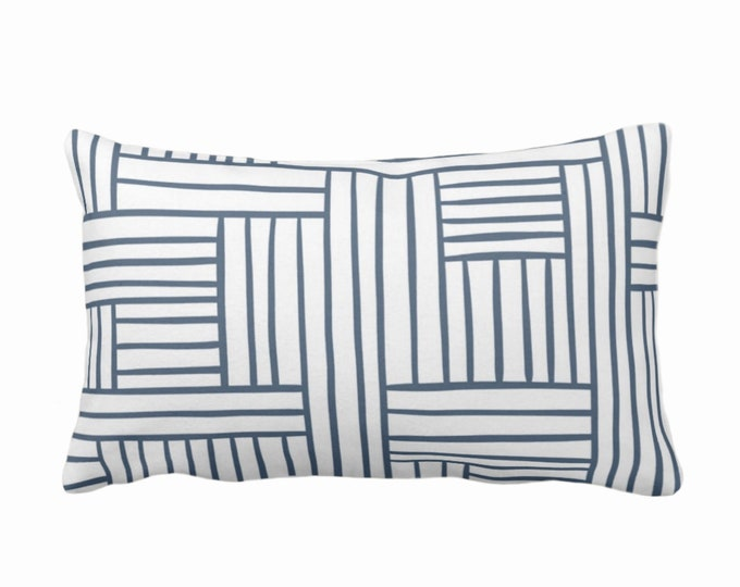 "Woven Lines Throw Pillow or Cover, White/Navy 14 x 20"" Lumbar Pillows Covers, Dark Blue Modern/Plaid/Striped/Geometric/Geo/Abstract Print"